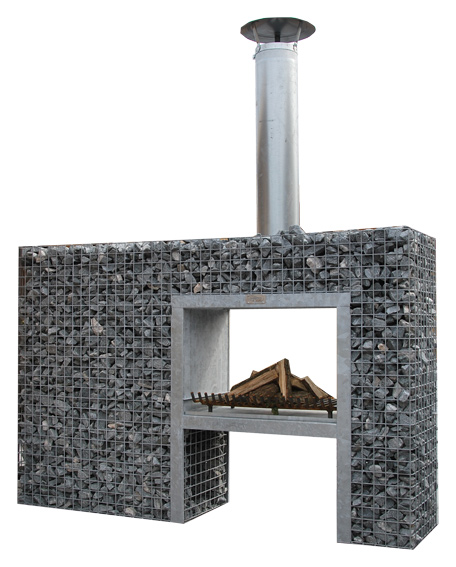 Steinkorb Durchsicht-Kamin Grill 2,00m x 1,30m x 0,48m