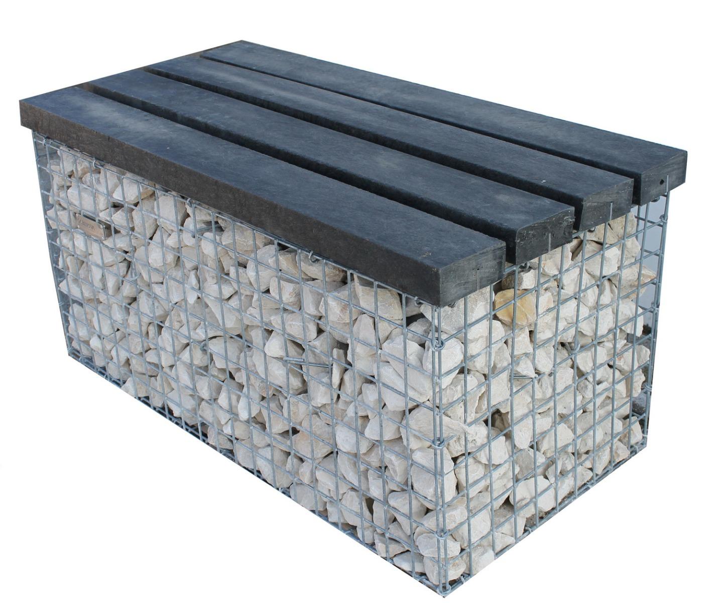 Gabionen hocker Auflage Recycling-Kunststoff