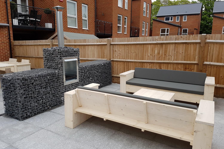 Garten Kamin Grill XS und Bauholz Loungeset
