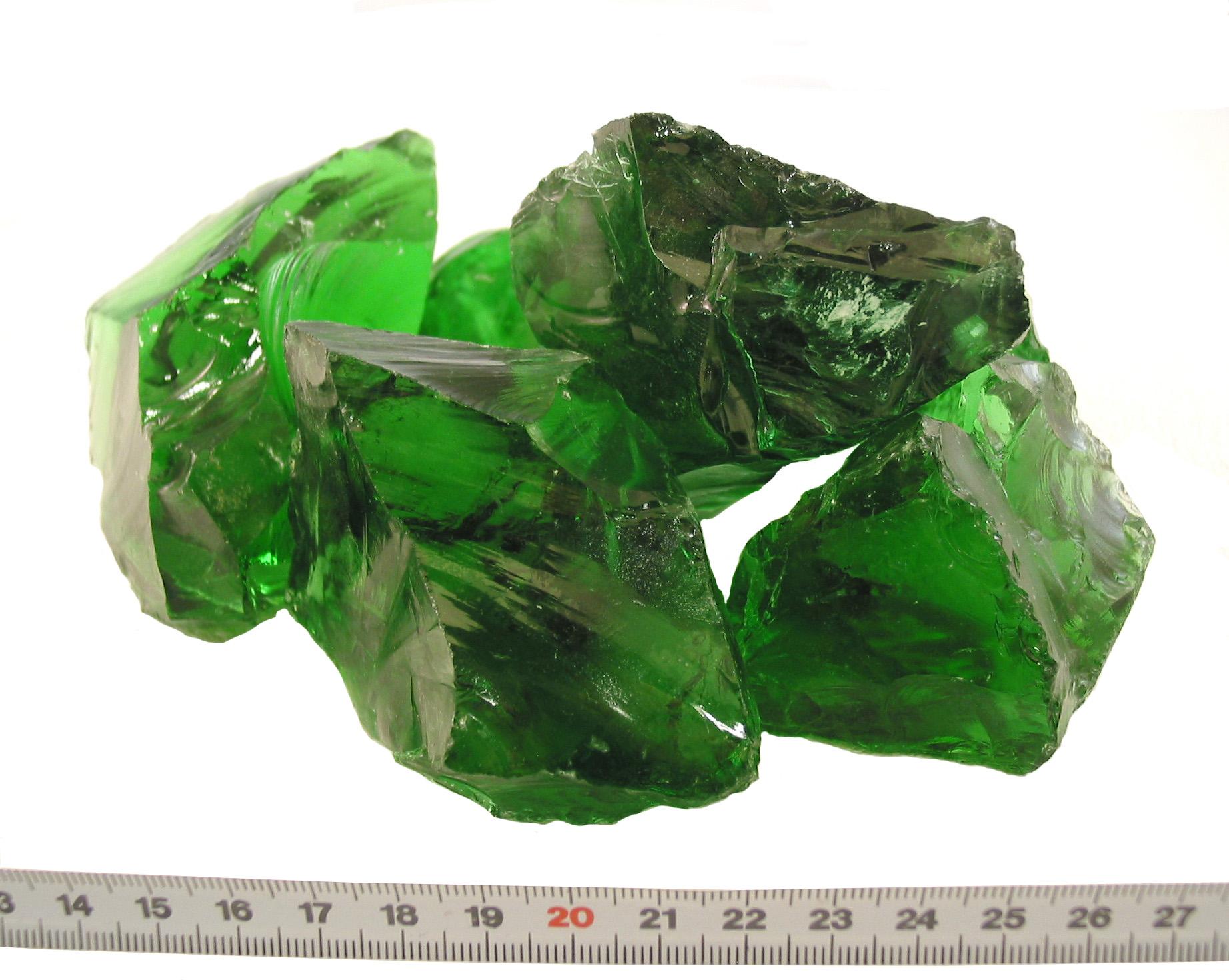 Glas-Brocken Bruchsteine Grün 80-120mm