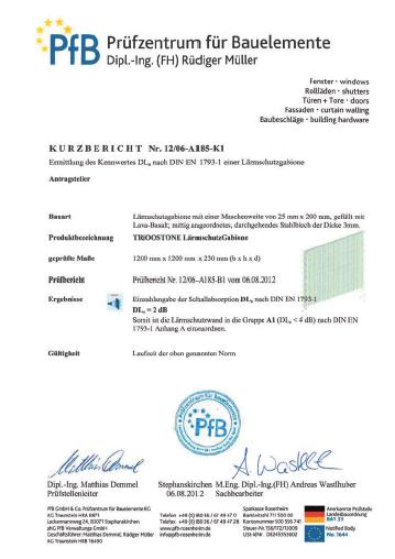 LärmschutzGabione certificaat